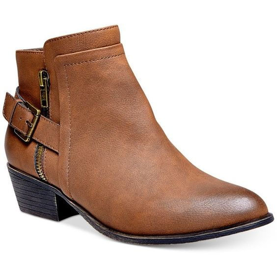 Madden Girl Hunttz Ankle Booties (£12) ❤ liked on Polyvore featuring shoes, boots, ankle booties, cognac, cognac boots, madden girl booties, madden girl boots, madden girl and cognac booties