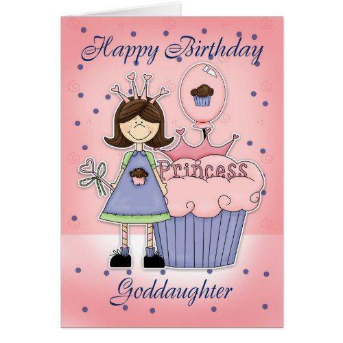 Goddaughter Birthday Card Cupcake Princess Zazzle Com Birthday Cards For Niece Sister Birthday Card Birthday Cards