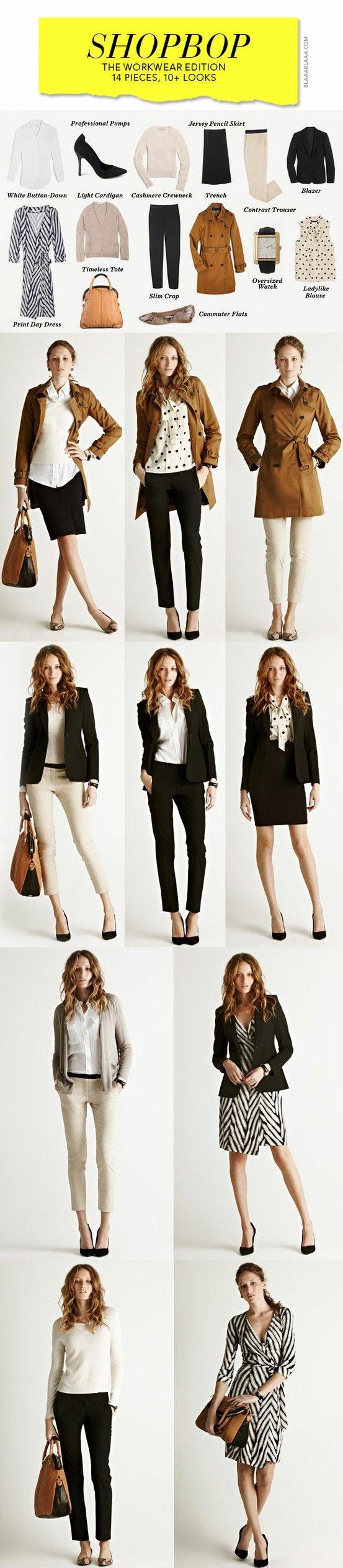 Idea.      work wardrobe with 14 pieces, 10+ looks #shopbop http://www.shopbop.com/ci/3/ww/workwear-ultimate-closet.html