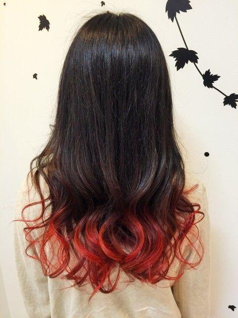 毛先を赤系のグラデーションカラ Plcra Hair Art プルクラヘアー