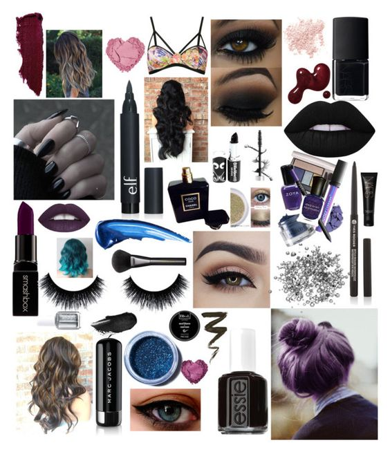 """""""✖️✖️"""" by black4eva ❤ liked on Polyvore featuring beauty, Lime Crime, Essie, Smashbox, Chanel, Lipstick Queen, Bare Escentuals, Marc Jacobs, Janiero and NARS Cosmetics"""