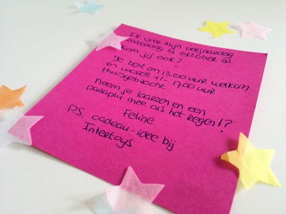 uitnodiging kinderfeestje met confetti