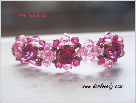 Beaded Bracelet Pattern - Rose Ruby Chaton Bracelet (BB128) - Beading Jewelry PDF Tutorial (Digital Download)