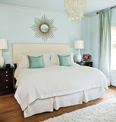 Light Blue Bedroom: soothing, simple maybe a plain bedding would be best for  small