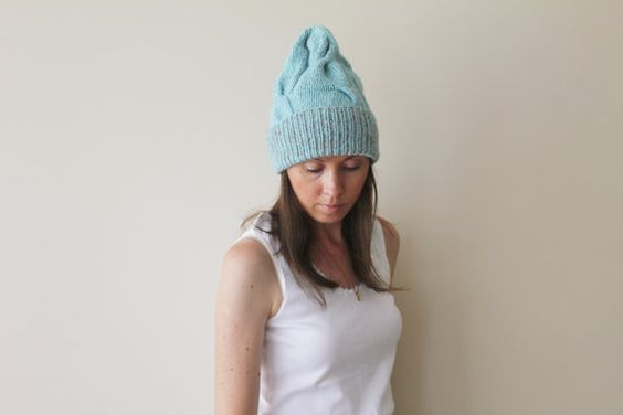 Hand knitted hats made from wool merino yarn.  Very soft , warm and comfy.  Very stylish.