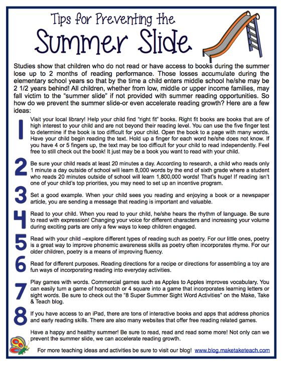 Classroom Handout Ideas : Ideas for preventing the summer slide free downloadable