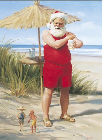Santa appropriatelly dressed for Christmas in Brazil!!! - Tom Browning Ready for the Sun Cards