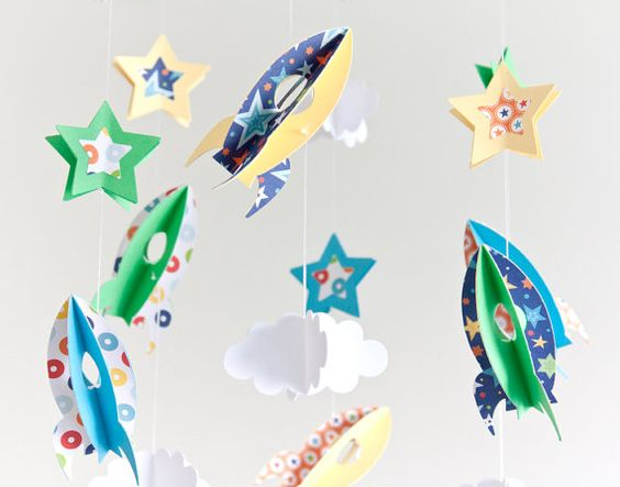 M vil de beb m vil de cuna m vil de cohetes y estrellas - Estrellas decoracion infantil ...
