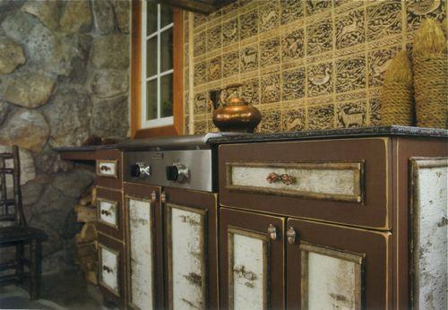 rustic cabinet, rustic grill, birch bark cabinet....patio ideas....