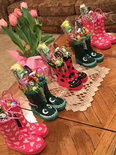 Rain boots Easter baskets/gifts.   For my Baby Dells ...