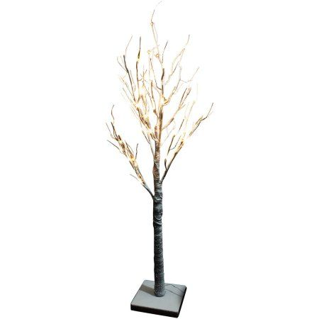 "Battery-Operated 24"" Warm White LED Snow Tree with 24 Lights"