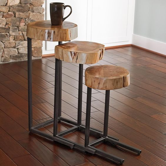 This Sleek And Rustic Industrial Table Would Look Great In: Wood And Iron Nesting Tables