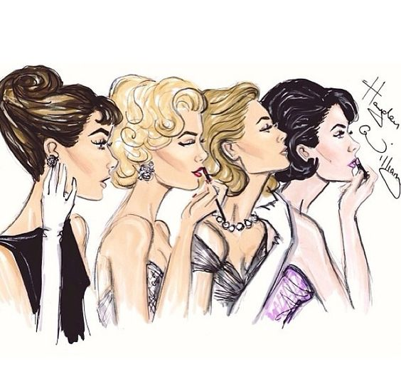 What I call the Hollywood Four. From left: Audrey Hepburn, Marilyn Monroe, Grace…: