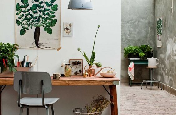 Dutch stylist Femke Pastijn uses a simple palette of green, white, and natural wood colors to create an inviting workspace. During cold winter months, who wouldn't love to set up a desk in a warm, bright greenhouse? Here's how to recreate the look in your own office: