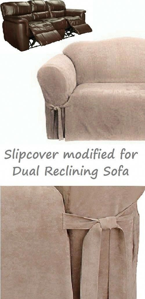Dual Reclining Sofa Slipcover Suede Taupe For 3 Seater Recliner