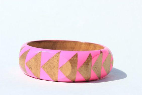 Neon Pink Stained Wood Bangle