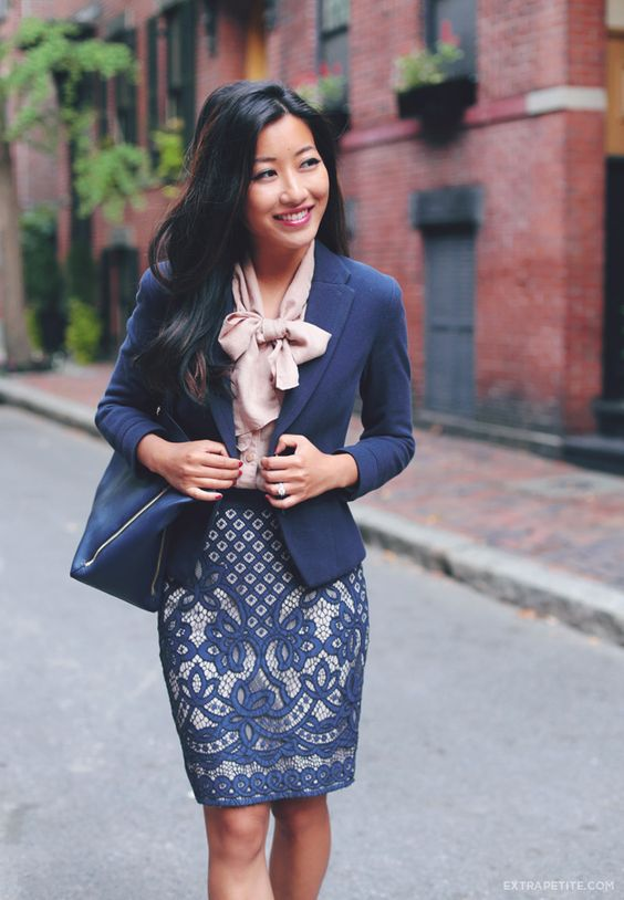 Business formal office outfit idea - blazer blow blouse and lace skirt. navy and neutral color ...