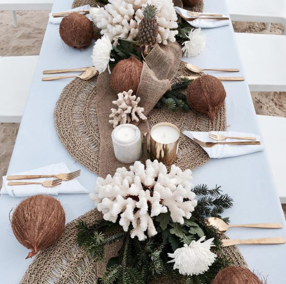 Hope & May >> Tropical Botanical Beach Table Setting