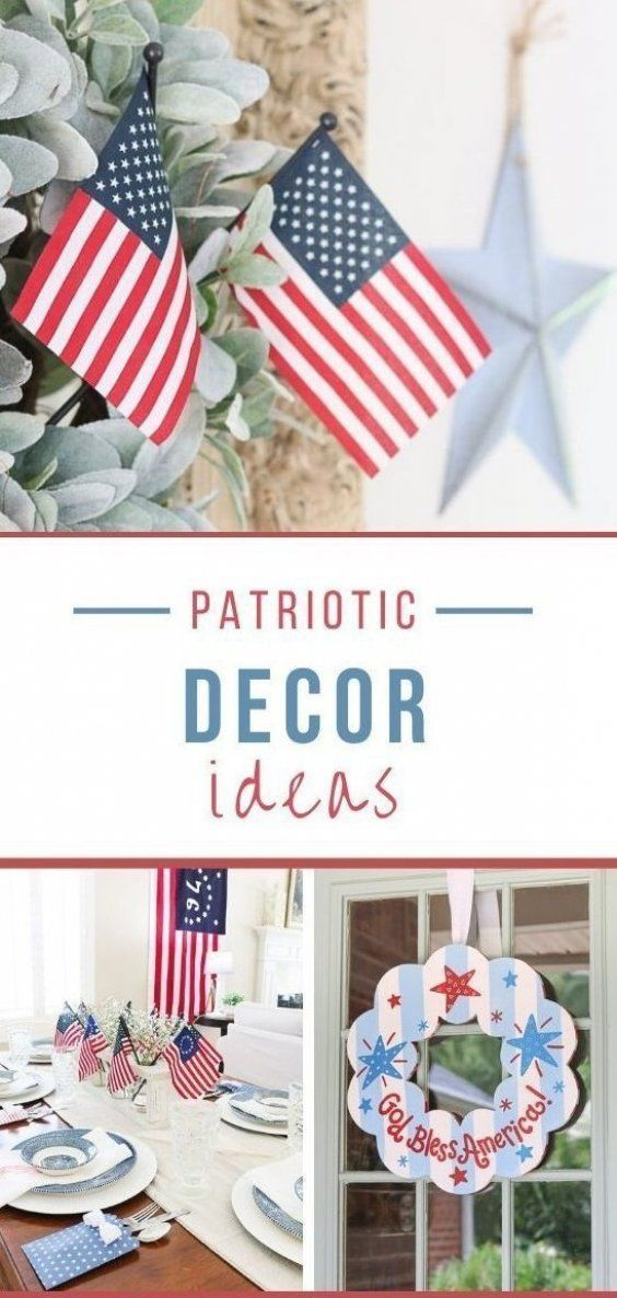 Patriotic Decor Ideas Easy Red White And Blue Decorating Ideas For Your Home In 2020 Patriotic Decorations Blue Decor Dollar Store Decor