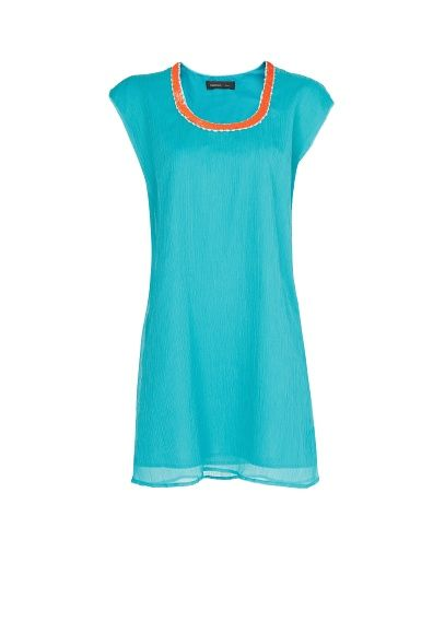 Roos' jurk!: chiffon jurk met halslijn met kraaltjes