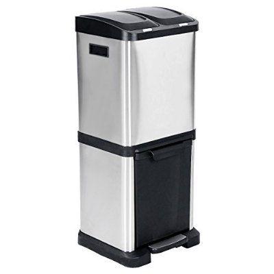 Songmics 32L (3 penal,2x8L + 16L) Cubo de basura de acero inoxidable Basurero reciclaje Dos compartimientos Con penal LTB32L
