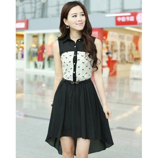 Summer Chiffon Midi Dress Printed Chest YRB0442