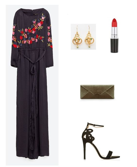 Dark blue jumpsuit with floral embroidery+black ankle strap heeled sandals+khaki velvet clutch+gold earrings. Fall Evening Outfit 2016. Mono azul noche con bordado floral+sandalias negas con pulsera y tacón+clutch caqui de terciopelo+pendientes dorados. Outfit para una Boda de Noche, Otoño 2016