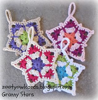 A four row granny star - can be used as a hanging decoration or an applique