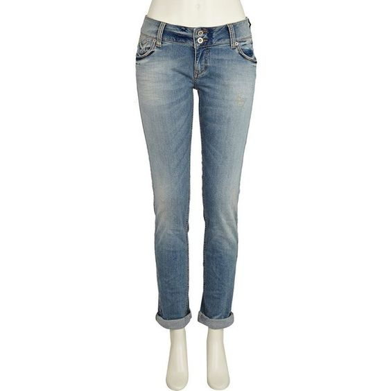 River Island Mid Wash Denim Roll Leg Jeans ❤ liked on Polyvore