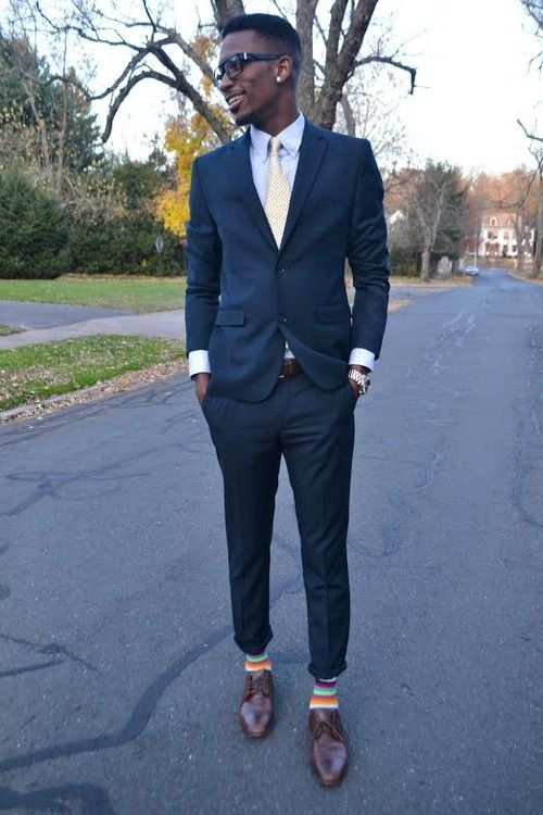 navy dress brown leather belt and striped socks on