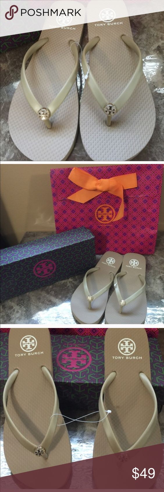 """Tory Burch sandals Tory Burch flip-flops. Khaki color, double """"T"""" medallion in goldtone and enamel. PVC upper/ rubber lining and sole. Authentic, Brand New, khaki color, size 7, shoebox & bag included. ❌NO TRADES❌ Tory Burch Shoes Sandals"""