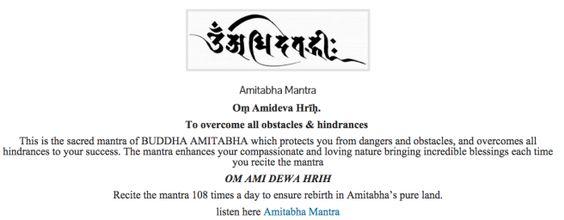 Om Amidewa Hrih Amitabha mantra