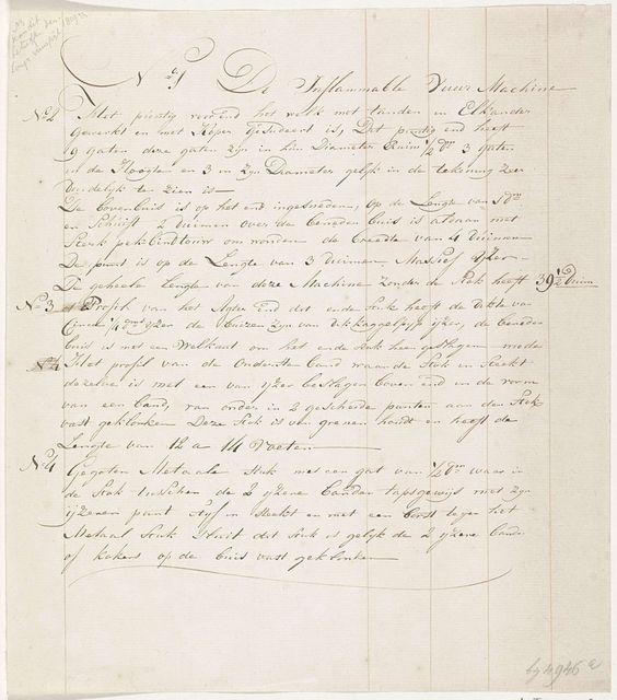 Anonymous   Verklaring bij de tekening van een Congreveraket, mogelijk gebruikt door de Engelsen bij het bombardement van Vlissingen, 1809, Anonymous, 1809   Blad met handgeschreven verklaring van de nrs. 1-4 op de tekening van een Congreveraket, zoals mogelijk gebruikt door de Engelsen bij het bombardement van Vlissingen op 13 augustus 1809.