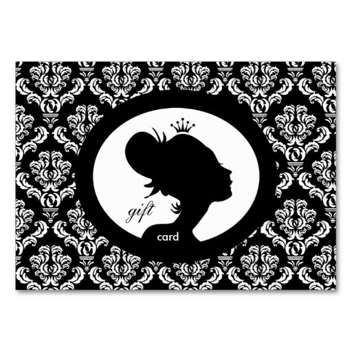 Salon Gift Card Crown Woman Silhouette BW Business Cards. I love this design! It is available for customization or ready to buy as is. All you need is to add your business info to this template then place the order. It will ship within 24 hours. Just click the image to make your own!