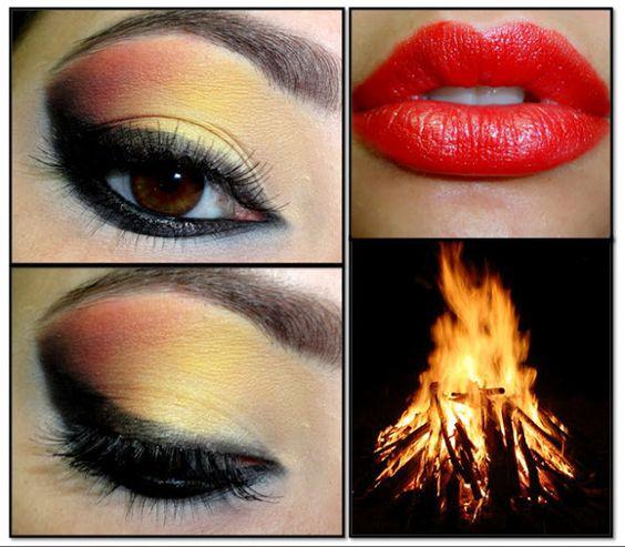 Bonfire makeup.  http://rachelshuchat.blogspot.ca/2012/05/bonfire-makeup.html