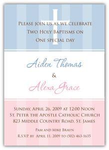 Boy Girl Twins Baptism Invitation | Twins' Baptism | Pinterest ...