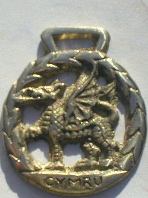 A round horse brass featuring the classic Welsh dragon.