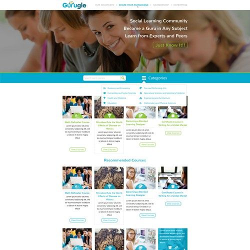 Gurugle Website Mooc Type Website Web Page Design Contest Design Web Page Andresnunez In 2020 Contest Design Page Design Types Of Websites