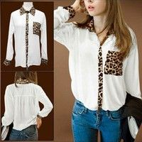 white/cheetah button up