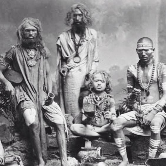 Group of Yogis, approx 1880. Photo by Colin Murray. India.