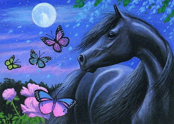 Black horse butterflies roses Thunder Moon fantasy original aceo painting art #Realism by Bridget Voth Ebay ID star-filled-sky