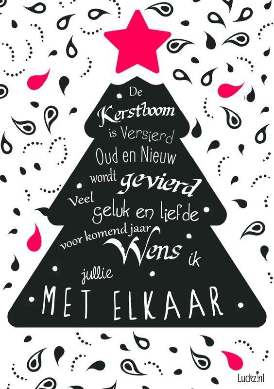 Design voor een kerstwens, met leuke typografie, kerstboom in zwart en roze. Met de kerst tekst: De kerstboom is versierd, oud en nieuw wordt gevierd. Veel geluk en liefde Voor komend jaar, wens ik jullie met elkaar.  Kijk bij Luckz.nl voor meer kerstteksten, gedichten en originele design kerstkaarten.