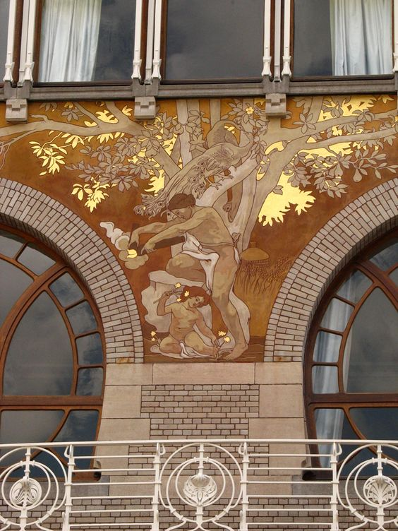 Art nouveau outdoor building mural art nouveau for Art nouveau mural