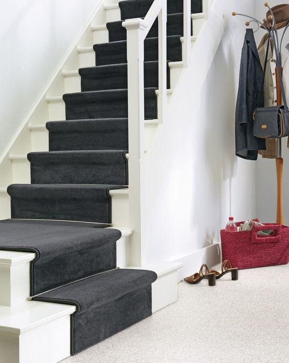 Traploper tapijt   zwart   trapbekleding   Pinterest