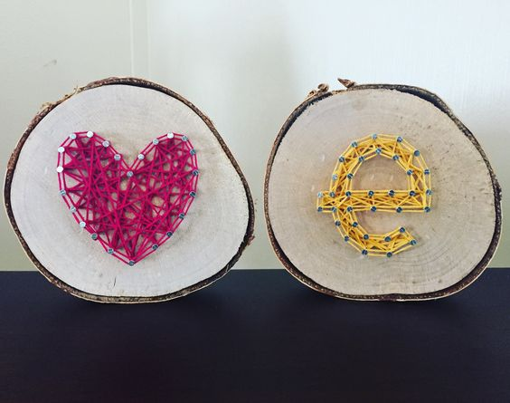 Valentine's Day Heart and Initial on Small Round Aspen.  $6 each. #StringArt #ValentinesDay #ExcellThreads #Aspen #Love To order, email: excell.threads@gmail.com Custom orders also available.