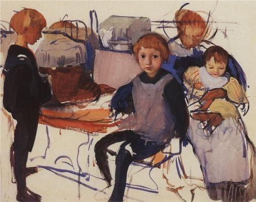 In the nursery. Neskuchnoye Artist: Zinaida Serebriakova Completion Date: 1913