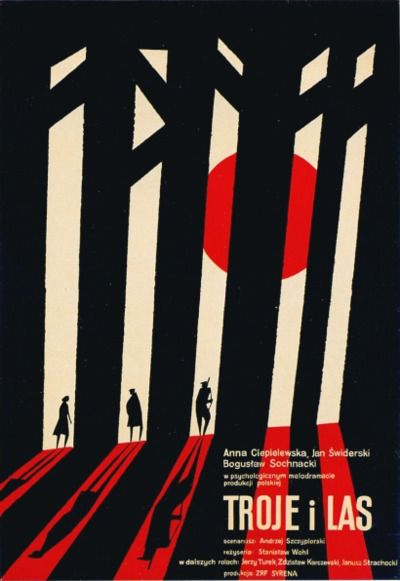 1961 Witold Janowski poster for a film called 'Troje i Las