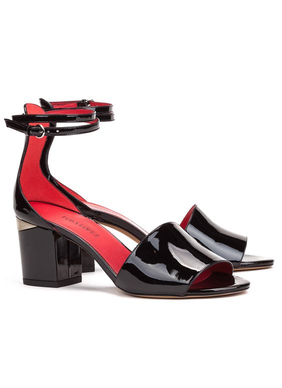 9286e38a2137 Buy ankle strap mid block heel sandals in black patent leather. Official  online shop Pura Lopez.