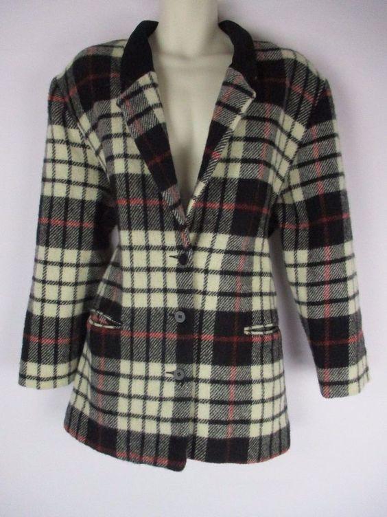 Vintage Woolrich Jacket Wool Plaid Coat Womans XL Made in USA Black Beige Checks #Woolrich #BasicCoat