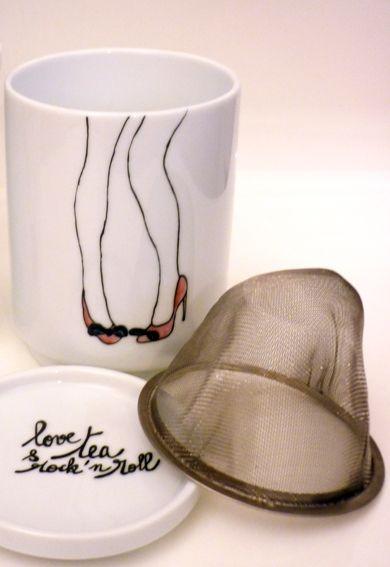 Tisanière porcelaine - Love, tea  et  rock'n roll